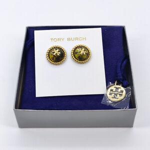 Tory Burch Kira Glass Stud Earrings in Green w/ earring card & pouch