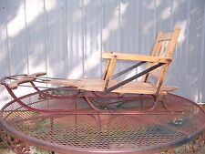 VINTAGE SPEEDAWAY WOODEN & METAL SNOW ICE SLED WITH FACTORY ADD ON SEAT BACK