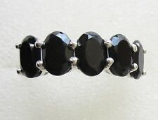 Black Spinel 4.25cts, Five Stone Ring 925 Sterling Silver sz 11