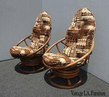 Pair Vintage Mid Century Modern Brown Swivel Rocker Bamboo Rattan Lounge Chairs
