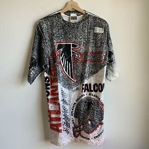Vtg NWT Magic Johnson T's Atlanta Falcons All-Over-Print AOP Tee T Shirt Large L