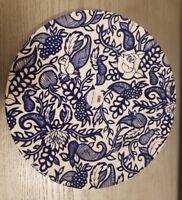 "BRAND NEW (4) ROYAL STAFFORD BLUE ROSE FLORAL WEAVE 11"" DINNER PLATES HOME DECOR"