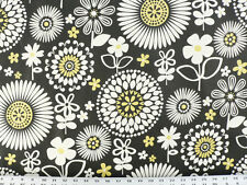 Drapery Upholstery Fabric 100% Cotton Retro Floral Print - White, Yellow, Black
