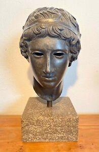 Ephebe Kopf Jüngling Siegerbinde, Gießerstempel ARA, Röm. Bronze Skulptur Sockel