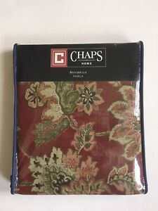 "CHAPS Ralph Lauren ANNABELLE Red Floral Jacobean Curtain Panels 42"" x 84"""