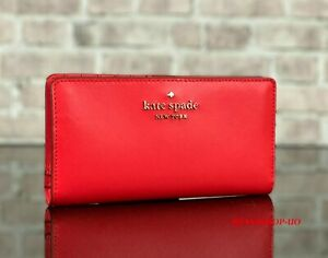 KATE SPADE NEW YORK STACI LARGE LEATHER SLIM BIFOLD WALLET PURSE $149 Red