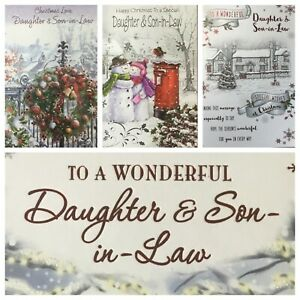 """DAUGHTER AND SON IN LAW /  FAMILY  CHRISTMAS CARD 7.5""""X5.5"""" RRP £2 (XMAS2)"""