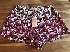 "Purple Floral ""Neon Rose"" Shorts Uk Size 10 New With Tags BNWT"