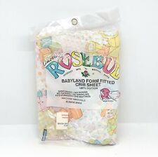 Vintage Marcus Bros Rosebud Babyland Fitted Crib Sheet Pastel Toys New Old Stock