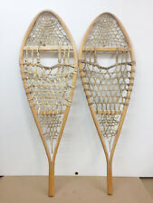 "Old Antique Vintage Indian Made 14"" X 42"" Snowshoes For Decor Or Arts And Craft"