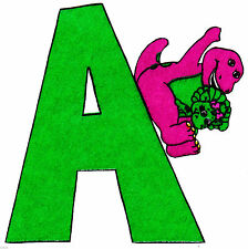 """6"""" Barney & baby bop abc letter a fabric applique iron on character"""