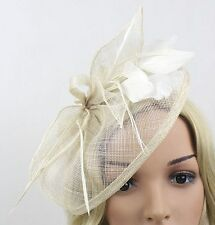 STUNNING HANDMADE IVORY SINAMAY FASCINATOR WITH IVORY FEATHERS LOOPS LEAVES