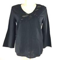 100% Linen 16 XL Tunic Top Black Mesh Leaf Detail 3/4 Sl Shirt MADISON STUDIO
