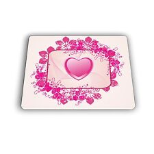 Heart in Square With Flower Border Computer Mouse Pad Mousepad
