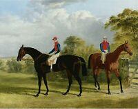 "1838- John Frederick Herring, Race Horse, Jockey, antique decor, 20""x16""  ART"