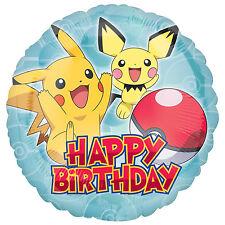 "18"" Round HAPPY BIRTHDAY Licensed POKEMON Foil HELIUM Fill BALLOON Genuine"