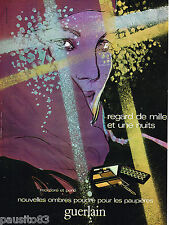 "PUBLICITE ADVERTISING 055  1978  GUERLAIN  maquillage par NIKASINOVITCH ""mille &"