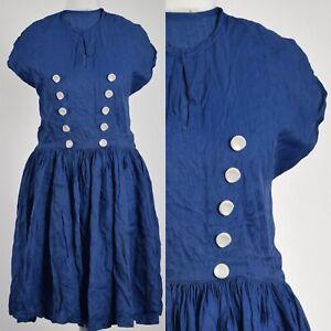 BLUE BUTTON DETAIL 1950s VINTAGE SAILOR CHIC, SWING DRESS 12