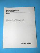 Harman Kardon Service Manual - Model HK 500 - Original - Tuner Technical
