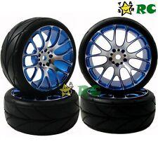 4pcs New RC 1/10 On Road Tires Soft & Alloy Aluminum Rims Hex 12mm F Car Upgrade