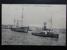 France LE HARVE L'Abeille No.10 TUG BOAT remorquant chargeur c1908 by S.A.R.A.