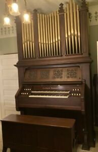 10-Rank Estey K-59 Two-Manual Reed Organ with Pedals and Decorative Pipe Top