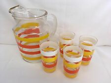 Vintage Juice Set Hazel Atlas Yellow Orange White Stripes Pitcher Glasses