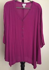 Soft Surroundings size L 1/2 button down V neck tunic 3/4 sleeved purple