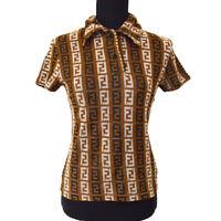 FENDI Vintage Zucca Pattern Short Sleeve Tops Brown #42 Authentic AK35563i