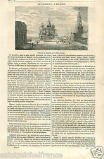 Moscow Kremlin Moscou Place Rouge Red Square Russia Russie GRAVURE PRINT 1833