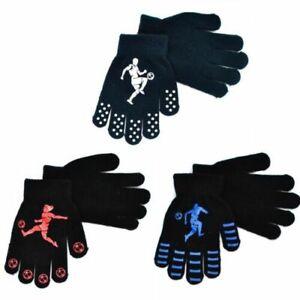 Boys Girls Kids Thermal Magic Gripper Grip Gloves Football Designs Winter Warm