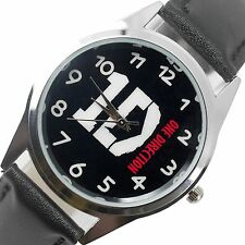 1D ONE DIRECTION MUSIC POP  STAINLESS Steel BLACK LEATHER BAND ROUND CD WATCH