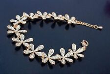 Full Rhinestone Flower Snowflake Crystal Golden Charm Bracelet Women Girls Gift
