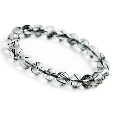 9mm Natural Black Rutilated Quartz Brazil Crystal Beads Powerful Bracelet