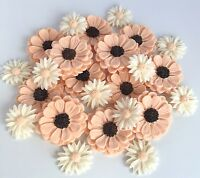 Peach Daisy Bouquet Edible Sugar Flowers Cake Decorations Cupcake Toppers