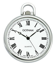 Gotham Men's Silver-Tone Slim Railroad Open Face Quartz Pocket Watch GWC15028SR