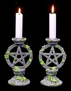 Kerzenhalter - Wicca Pentagramm 2er Set - Nemesis Now Altar Kerzenleuchter Deko