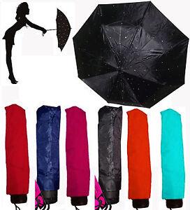 Diamante Crystal Covered Telescopic Umbrella Black Lilac White Duckegg or Pink
