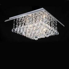 Genuine Clear Crystal Ceiling Light Square Chrome Finished Chandeliers Light