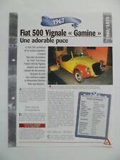 CARTE FICHE AUTO FIAT 500 VIGNALE GAMINE 1967 (263-264)