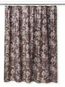 Threshold Shower Curtain Fabric Berry Floral Red Wine 72 x 72 Bath New