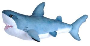 LIVING OCEAN MINI GREAT WHITE SHARK PLUSH TOY 30CM STUFFED ANIMAL WILD REPUBLIC