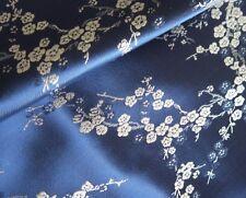 Stoff-Kirschblüte Jaquard  blau Meterware - 90 cm breit