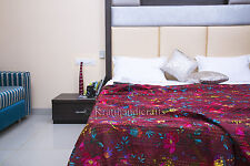 Reversible Vintage Kantha Quilt Indian Handmade Ralli Gudari Throw Blanket King
