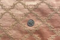 "French Antique 19thC Pink-Peach Doll Scale Woven Silk Jacquard Fabric~14""X13"""