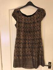 Oasis Sz 10 Tunic Dress Pretty Pattern 100% Silk Xmas Occasion