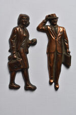 Mid Century Modern Business Man Woman Restroom Signs Oxidized Copper