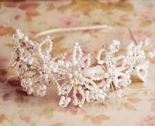 Cristallo Cerchietto per Capelli Floreale Sposa Accessorio Perle da Matrimonio