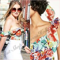 Tropical Floral Cropped Ruffle Frilled Top Size UK 6 US 2 XS Blogger ❤