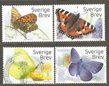 Sweden: 4 used stamps of a set, Stamp Day - Butterflies, 2010, Mi#3159, 3162-4